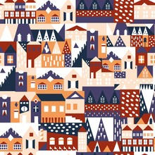 House Seamless Pattern. Scandi...
