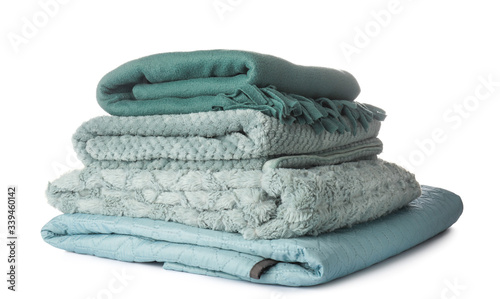 Photo Soft blankets on white background