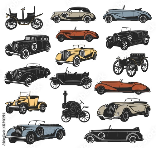 Valokuva Antique and rarity vintage cars in vector, old vehicle models
