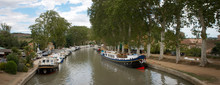 Canal Du Midi Beziers France. The Seven Locks. Boats. Canal. Waterway. Panorama