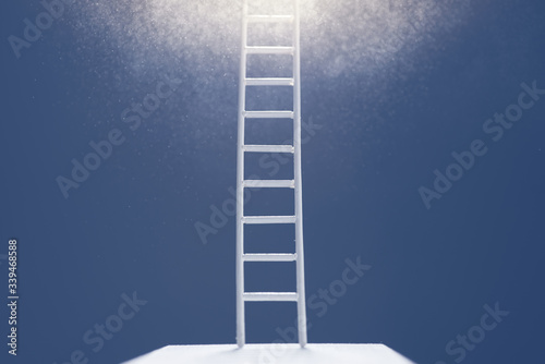 Photo Way to success concept. Stairs up to the light.