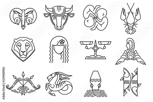 Fotografie, Tablou Set of zodiac signs Aries Taurus Gemini Cancer Leo Virgo Libra Scorpio Sagittarius Capricorn Aquarius Pisces Colorful star signs Astrological symbol logo emblem