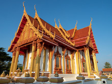 Nakorn Phanom, Thailand - Nov 16th, 2019: Wat Phra That Renu Nakhon Temple Complex, With The Elegantly Designed 36 Meters High And Over 8 Meters Wide Chedi Dominating The Area.