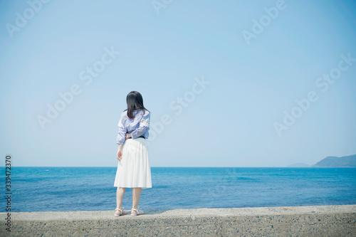 Fototapete - 女性 夏 海