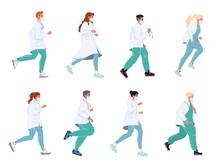 Doctor Running In Masks Unifor...
