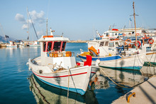 Fishing Boats On A Harbour On ...