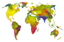 World Map Drawn In Watercolor....