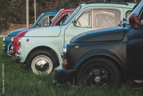 Canvas Print Cars Parked On Grassy Field