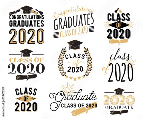 Congratulation graduation wishes overlays, lettering labels design set. Retro graduate class of 2020 badges. Hand drawn emblem with sunburst, hat, diploma, bell. Isolated on white background Fotobehang