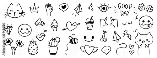 Photo Cute Hand drawn doodle design vector, Kids and baby design element for prints, f