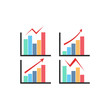 Color Graph Chart Icons Set. Vector illustration on white background EPS10
