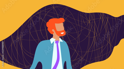 Fotografie, Obraz bearded man with dark liquid frame and tangled line on yellow background