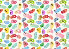 The Image Of Assorted Lovely Jelly Beans Pattern With Assorted Emotion Face Expression, Colorful, Funny Shapes.