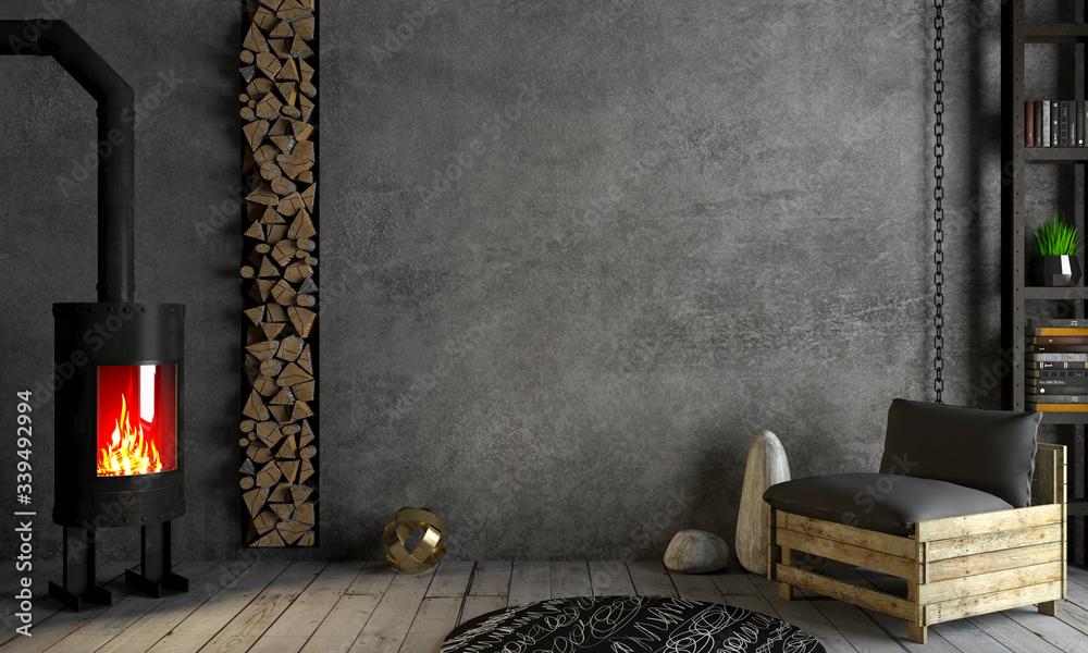 Fototapeta Loft interior background fireplace on old wall