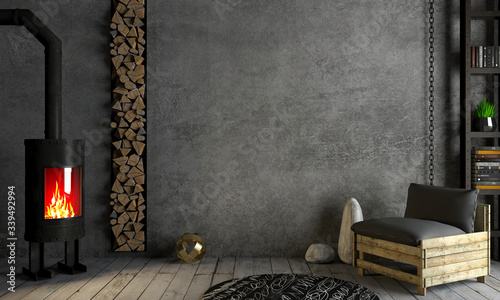 Loft interior background fireplace on old wall Wallpaper Mural