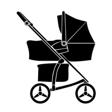 Baby Carriage Icon On White Background. Vector Pram Symbol. Isolated Sign Baby Stroller.