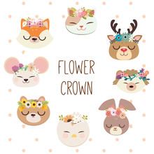 The Collection Of Cute Animal With Flower Crown. The Cute Cat Deer Hedgehog Rabbit Bird Squirrel Mouse Fox With The Flower Crown In Flat Vector Style On The White Backgrounsd And Polka Dot
