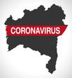 Bahia BRAZIL map with Coronavirus warning illustration