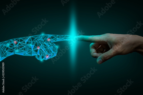 Obraz a human hand touching with digital hand, digital transformation  concept - fototapety do salonu