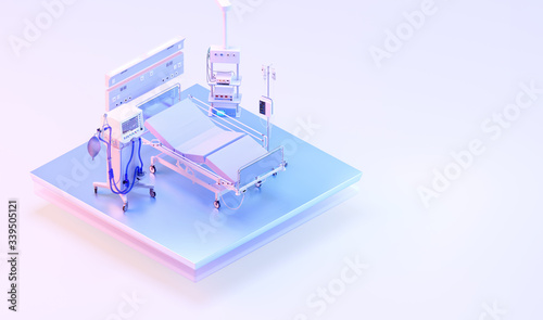 Fotografia Intensive care unit medical ventilator for covid-19 coronavirus patients