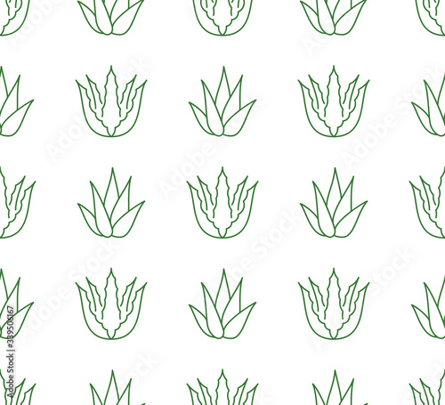 Aloe vera background, agave plant seamless pattern Wallpaper Mural