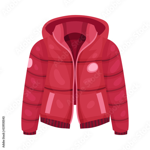 Red Zippered Anorak with Hood and Side Pockets as Womenswear Vector Illustration Wallpaper Mural