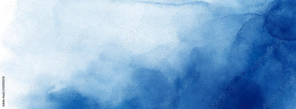 Fototapeta Abstract surface dark blue watercolor texture