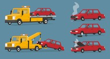 Set Of Towing Trucks And Broken Cars. Roadside Assistance. Crashed Car, From Under The Hood Is Coming Steam, Smoke. A Broken Tire, Tire Replacement. Cartoon Vector Illustration In A Flat Style