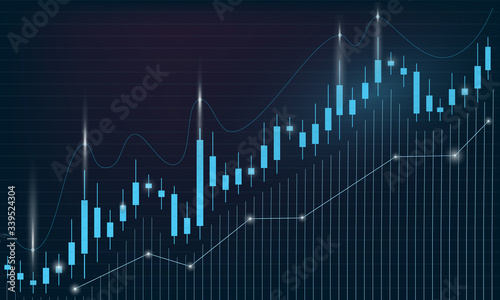 Stock market chart, candlestick graph, trading and finance concept, dark background, space for text Canvas-taulu