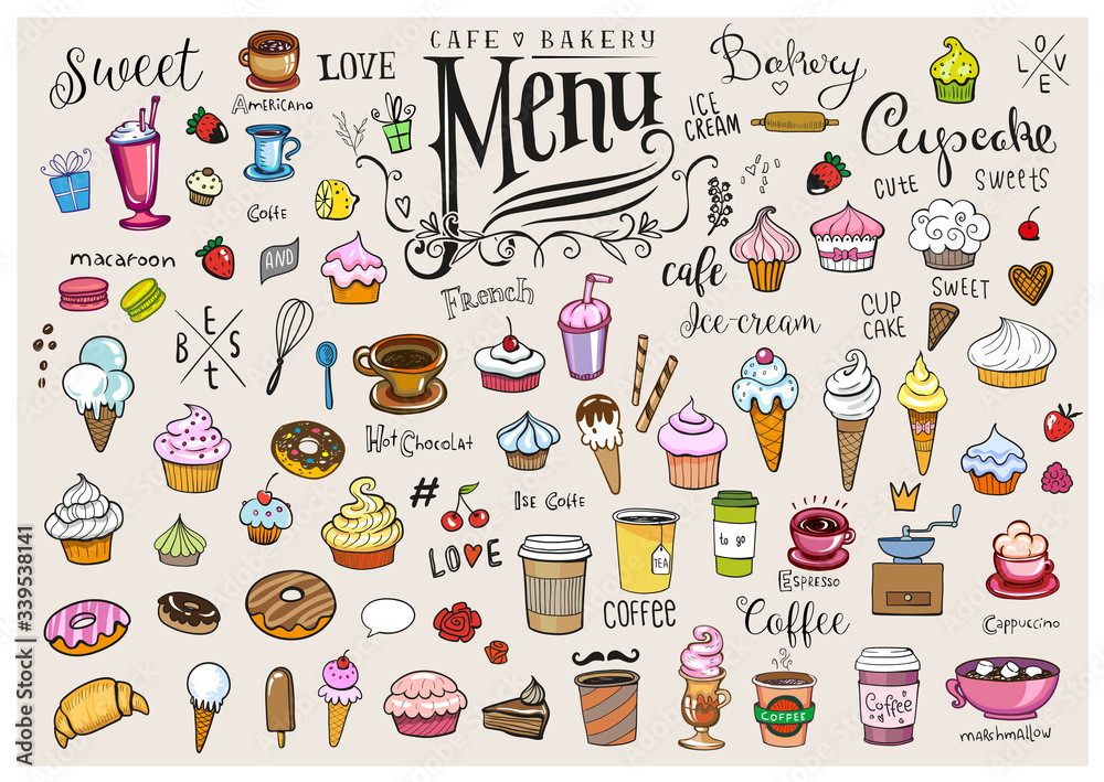 Fototapeta Drawings of various objects for cafes or bakery