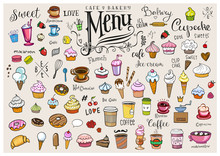 Drawings Of Various Objects For Cafes Or Bakery