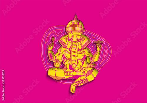 Fotografie, Obraz Polygon Style vector elephant God Ganesha