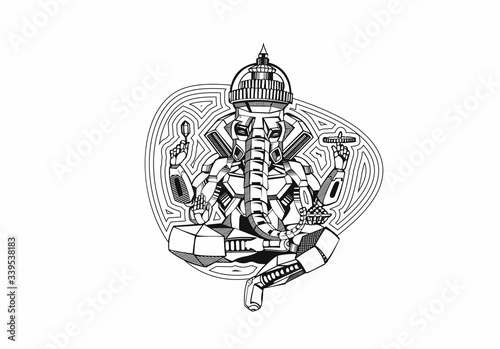 Obraz na plátně Polygon Style vector elephant God Ganesha