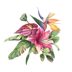 Naklejka Egzotyczne Watercolor bouquet of green leaves, pink and yellow tropic flowers isolate in white background.