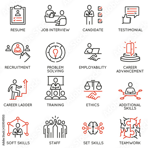 Photo Vector Set of Linear Icons Related to Leadership Skills for Workplace Success