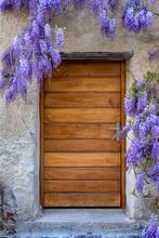Wooden Door Framed By Purple W...