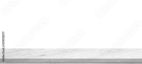Empty top of white mable stone table isolated on white background ,for montage product display or design key visual layout.with clipping path