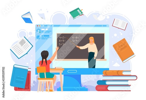 Fotografie, Tablou School home education online lesson vector