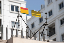 High Electric Fence With Blank Yellow Tag, Security Fence System For House Protection.