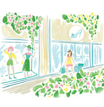 Illustration Of Young Woman Shopping In Spring