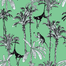 Seamless Pattern Monkeys In Ju...
