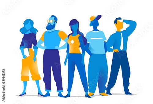 Obraz Squadra di personaggi colorati maschili e femminili isolati sullo sfondo bianco - fototapety do salonu