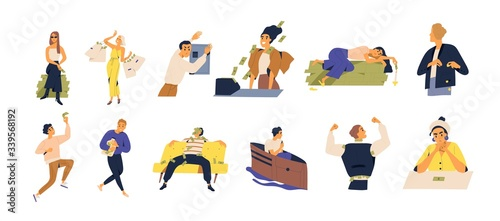 Fototapeta Concept of richness and poverty. Set of scenes with men and women save, spend, waste money isolated on white. Rich and poor people with banknotes and coins. Vector illustration in flat catoon style. obraz