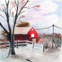 Red Old Barn, A Fence, A Tree ...