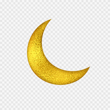 Gold Foil Half Moon. Yellow Gl...