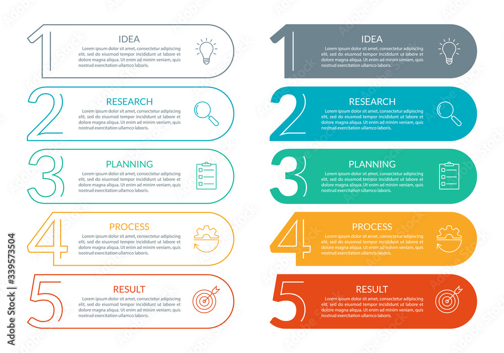 5 steps info graphic with business icons and copy space. Infographics template with outline numbers. Five parts or options for menu and  workflow layout design. Vector illustration. - obrazy, fototapety, plakaty