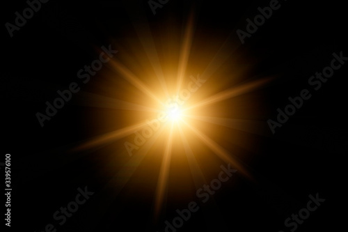 Photographie Optical lens flare on black background.