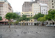canvas print picture - Cape Town, South Africa - 16 April 2020 : Empty streets in te normally bustling Greenmarket Square in Cape town, South Africa during the lock down.