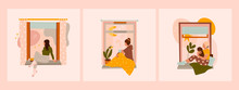 Various Young Ladies Looking Through Window While Sitting On Windowsill At Home.Set Of Three Hand Drawn Colored Vector Illustrations. Thinking, Meditating, Reading Concept. Stay At Home