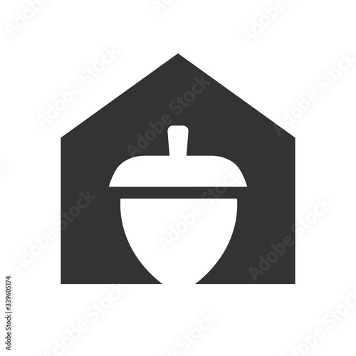 House and acorn oak logo template, nut and home icon design - Vector Wallpaper Mural